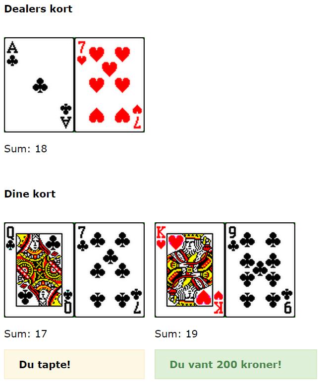 spiller slik i kasinoet